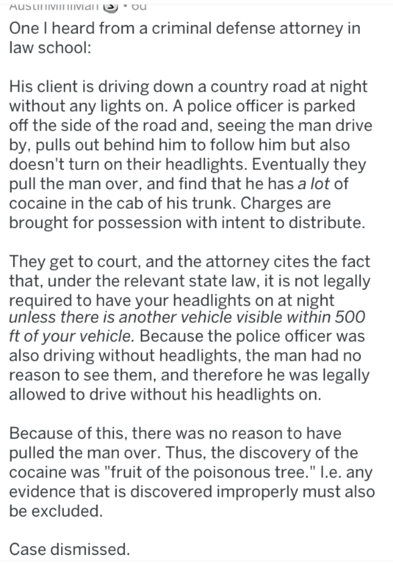 Criminal Defense Attorney describes an obscure law about not having to drive with headlights unless another vehicle is visible within 500 ft