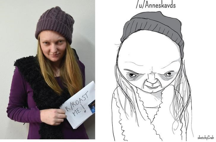 pic of girl with large forehead next to exaggerated cartoon of her