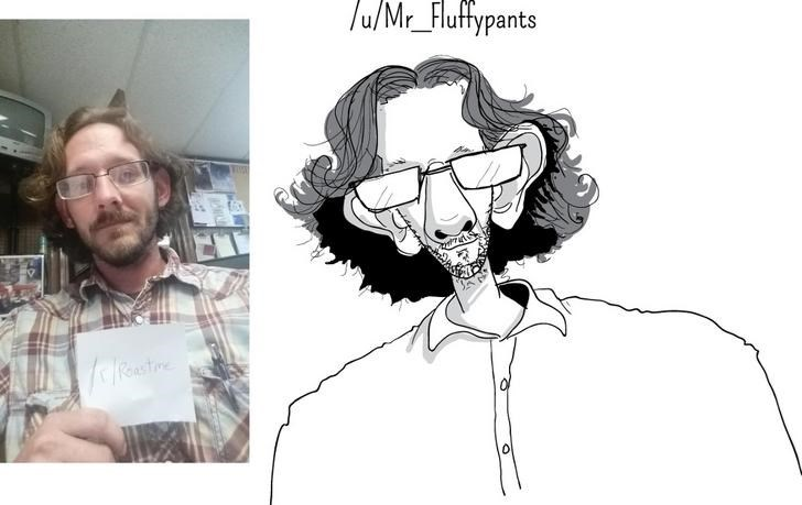 Pic of a guy with big ears next to an exaggerated drawing of him