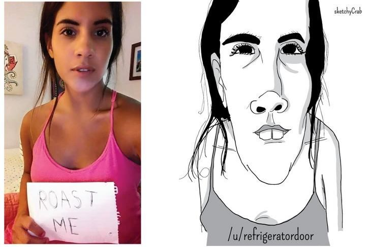 pic of girl with upturned nose next to exaggerated cartoon of her