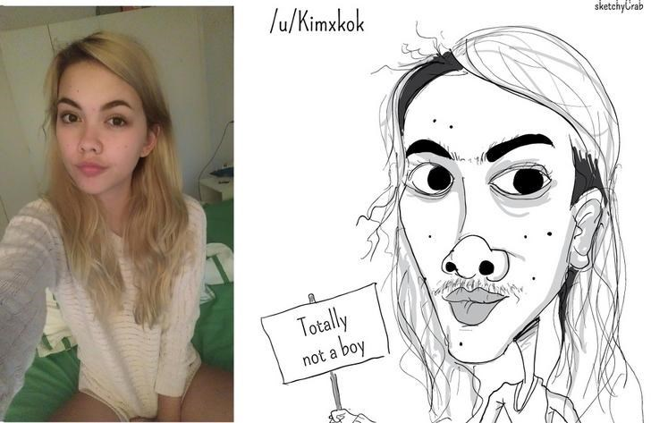 pic of girl next to exaggerated cartoon of her suggesting she's a man