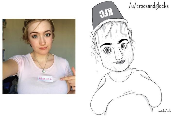 pic of girl with a large chest next to exaggerated cartoon of her wearing a KFC bucket as a hat