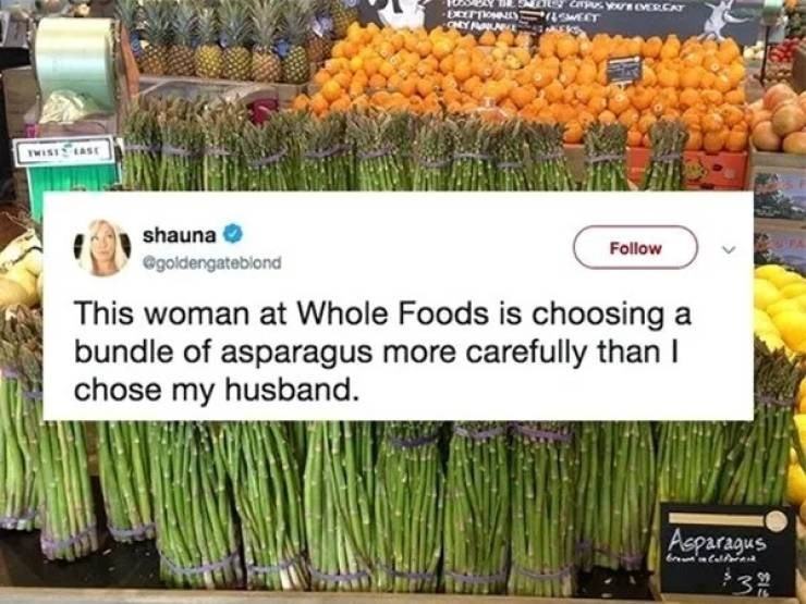 A tweet about a woman seeing someone at Whole Foods picking out a bundle of asparagus.