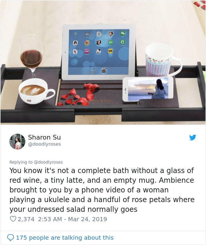 twitter post picture of bath trat with ipad coffee wine rose petals You know it's not a complete bath without a glass of red wine, a tiny latte, and an empty mug. Ambience brought to you by a phone video of a woman playing a ukulele and a handful of rose petals where your undressed salad normally goes