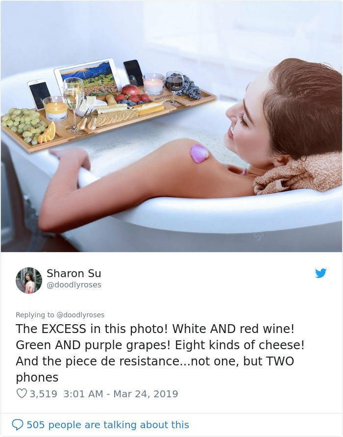 twitter post woman in bath with ipad wine cocktail grapes The EXCESS in this photo! White AND red wine! Green AND purple grapes! Eight kinds of cheese! And the piece de resistance...not one, but TWO phones