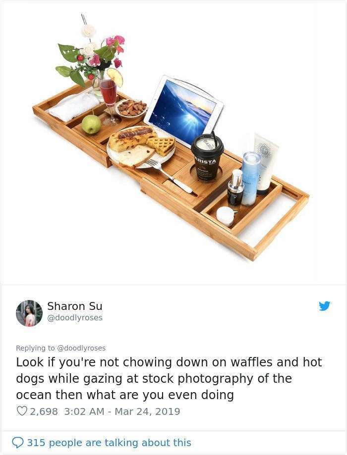 twitter post bath tray with ipad food moisturiser Look if you're not chowing down on waffles and hot dogs while gazing at stock photography of the ocean then what are you even doing