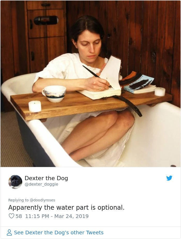 twitter post woman in empty bath with tray writing in book Apparently the water part is optional.