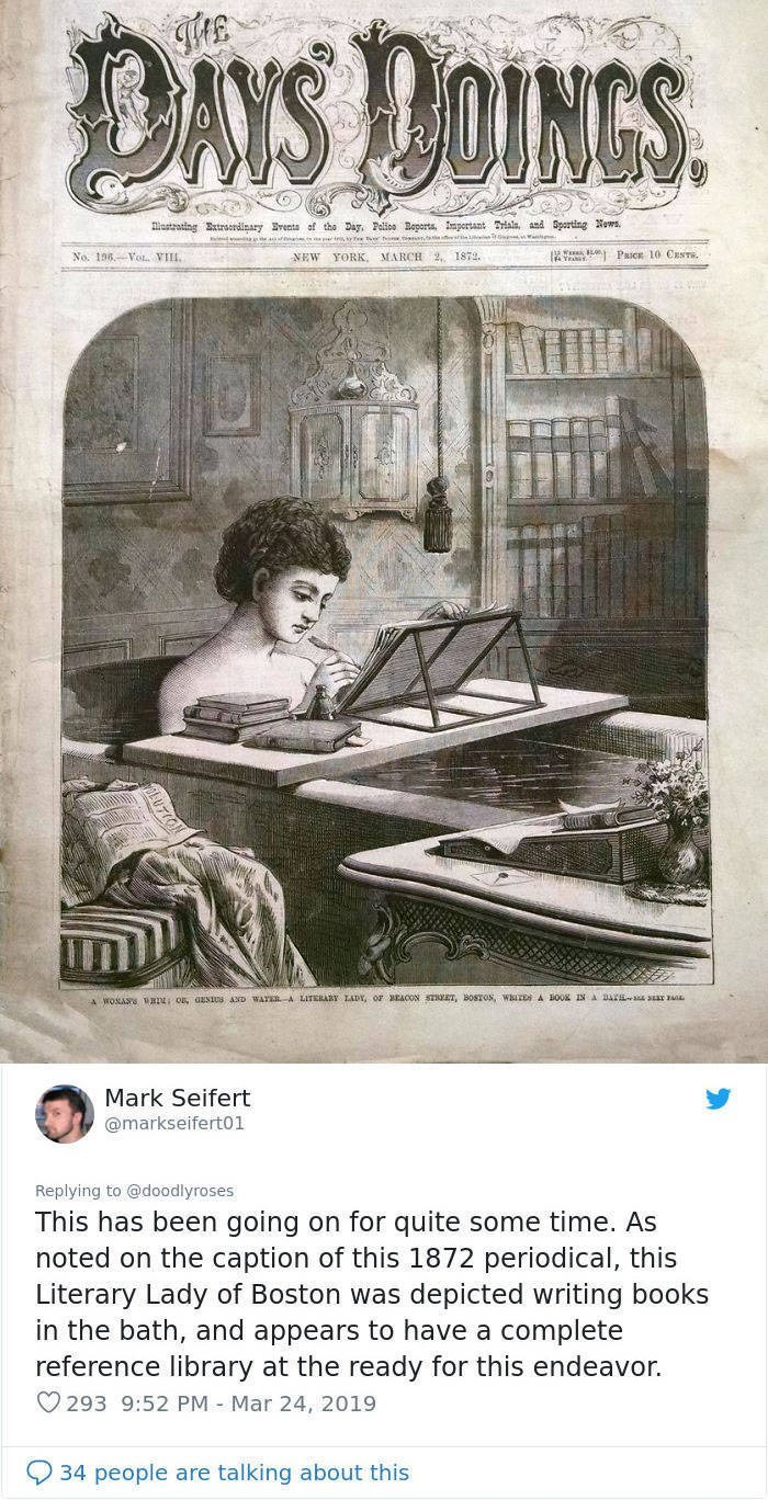 old fashioned drawing of woman in the bath writing books twitter post