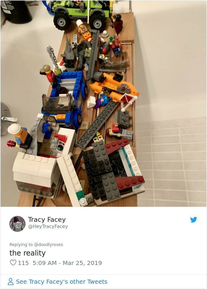 twitter post picture of bath tray covered in lego the reality