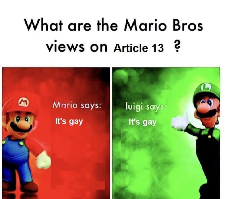 meme about both Mario and Luigi thinking article 13 is gay
