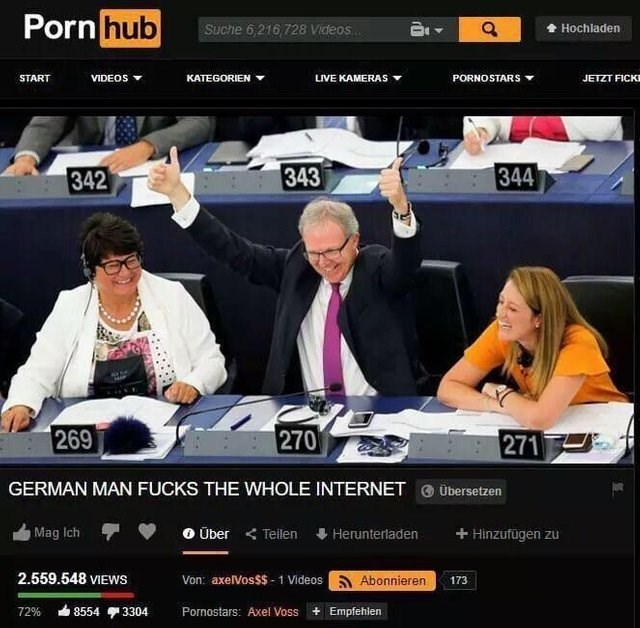 meme with a fake pornhub video still about article 13 being a way to fuck the internet