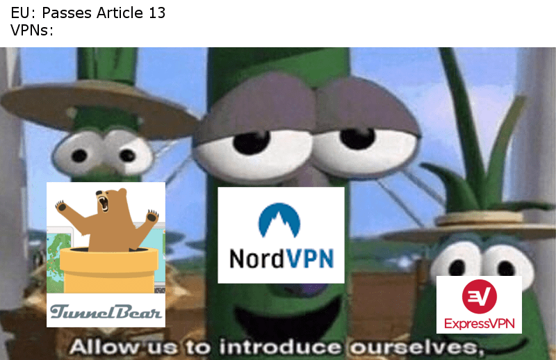 veggitales meme about Europeans using VPNs after article 13 passes