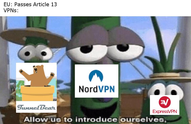 veggitales meme about Europeans using VPNs after article 13 passes