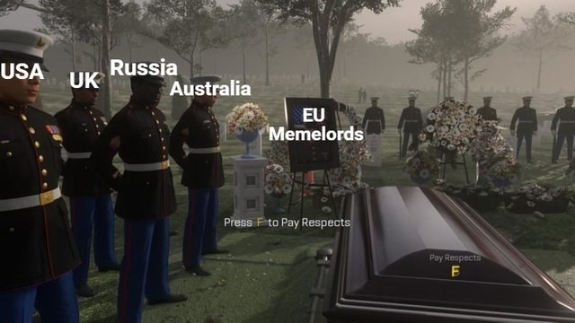 meme about article 13 with picture of other countries attending EU memelords funeral
