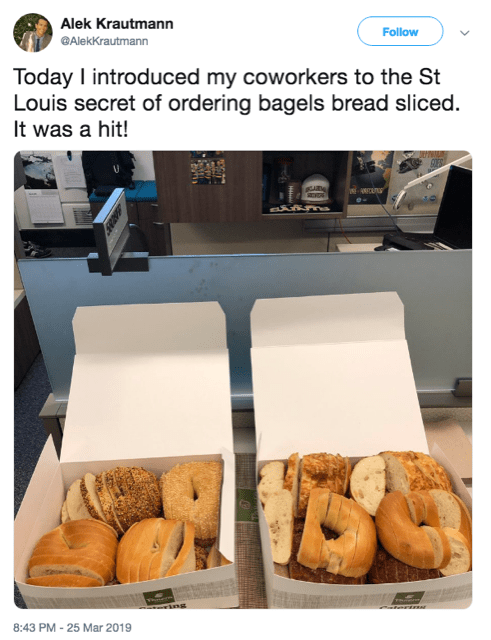 tweet by Alek Kratumann saying he introduces his colleagues to a St Louis method of bagel slicing