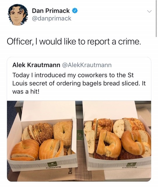 tweet asking to report cutting bagels into slices as a crime