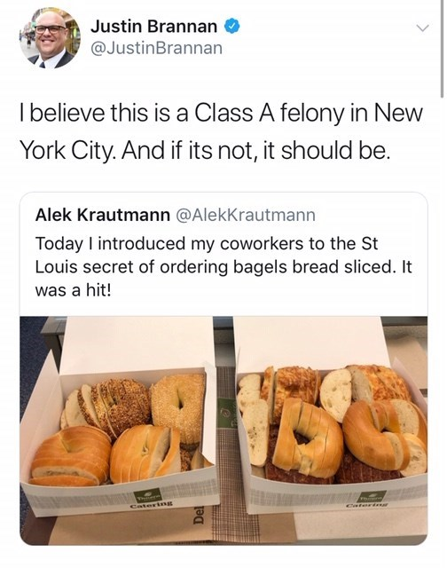 tweet saying cutting bagels into slices is a felony in NYC