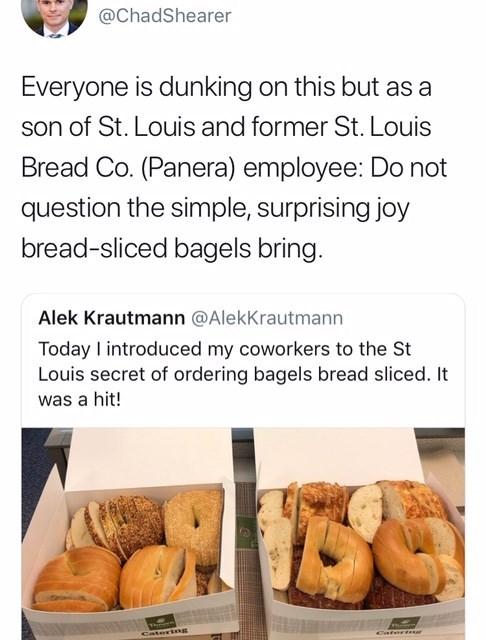 tweet defending the St Louis bagel slicing method
