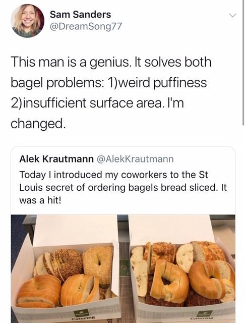 tweet showing interest in St Louis bagel slicing