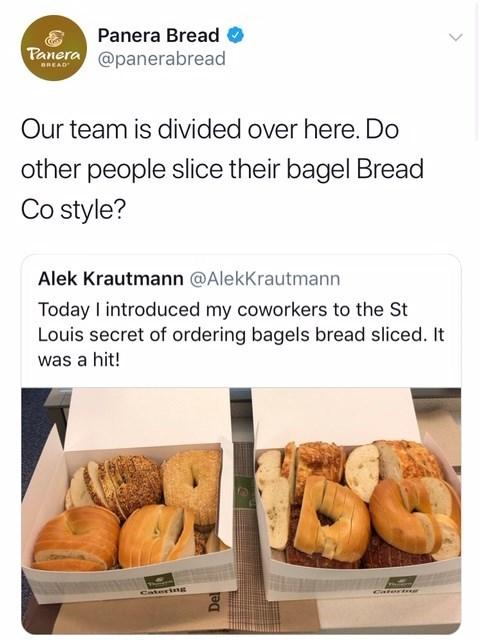 tweet by panera bread asking who else slices their bagels