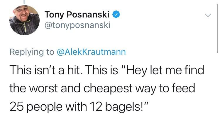 tweet saying slicing bagels is cheap