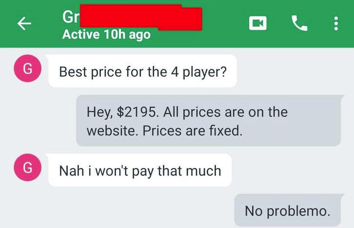 A screenshot of a guy saying he won't pay for the fixed price on an item.