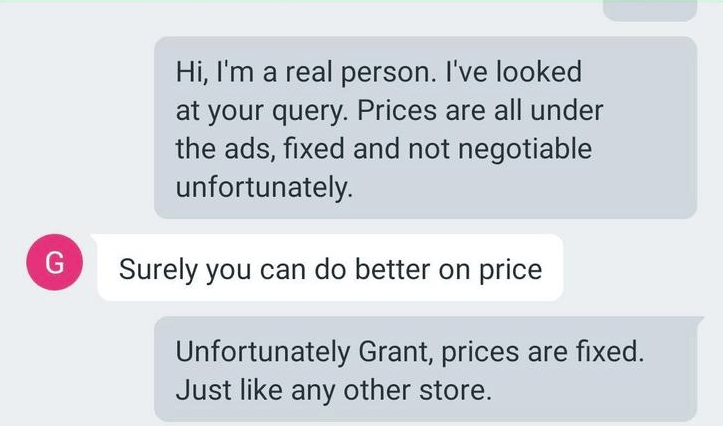 A screenshot of the guy saying that surely he can do better on the price being suggested.