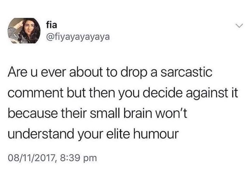 "Tweet that reads, ""Are you ever about to drop a sarcastic comment but then you decide against it because their small brain won't understand your elite humor"""