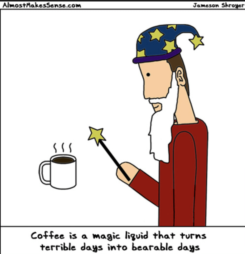 Cartoon - AlmostMakesSense.com Jameson Shroyer magic liguid that turns terrible days into bearable days Coffee is a