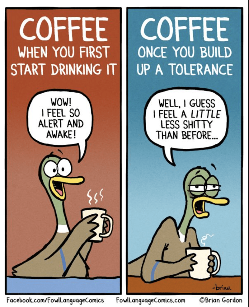 Cartoon - COFFEE COFFEE WHEN YOU FIRST START DRINKING IT ONCE YOU BUILD UP A TOLERANCE WOW! I FEEL SO ALERT AND AWAKE! WELL, I GUESS I FEEL A LITTLE LESS SHIT THAN BEFORE... -briau. Facebook.com/FowlLanguageComics FowlLanguageComics.com OBrian Gordon