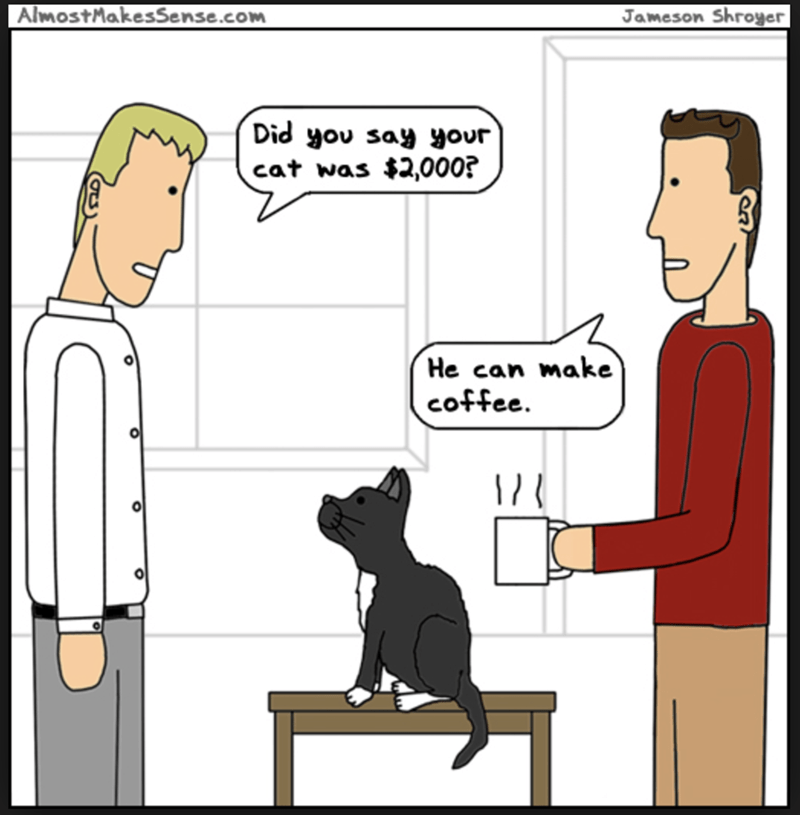 Cartoon - AlmostMakesSense.com Jameson Shroyer Did you say your cat was $2,000? He can make coffee. 1