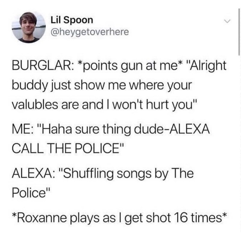 """Text - Lil Spoon @heygetoverhere BURGLAR: *points gun at me* """"Alright buddy just show me where your valubles are and I won't hurt you"""" ME: """"Haha sure thing dude-ALEXA CALL THE POLICE"""" ALEXA: """"Shuffling songs by The Police"""" *Roxanne plays as I get shot 16 times*"""