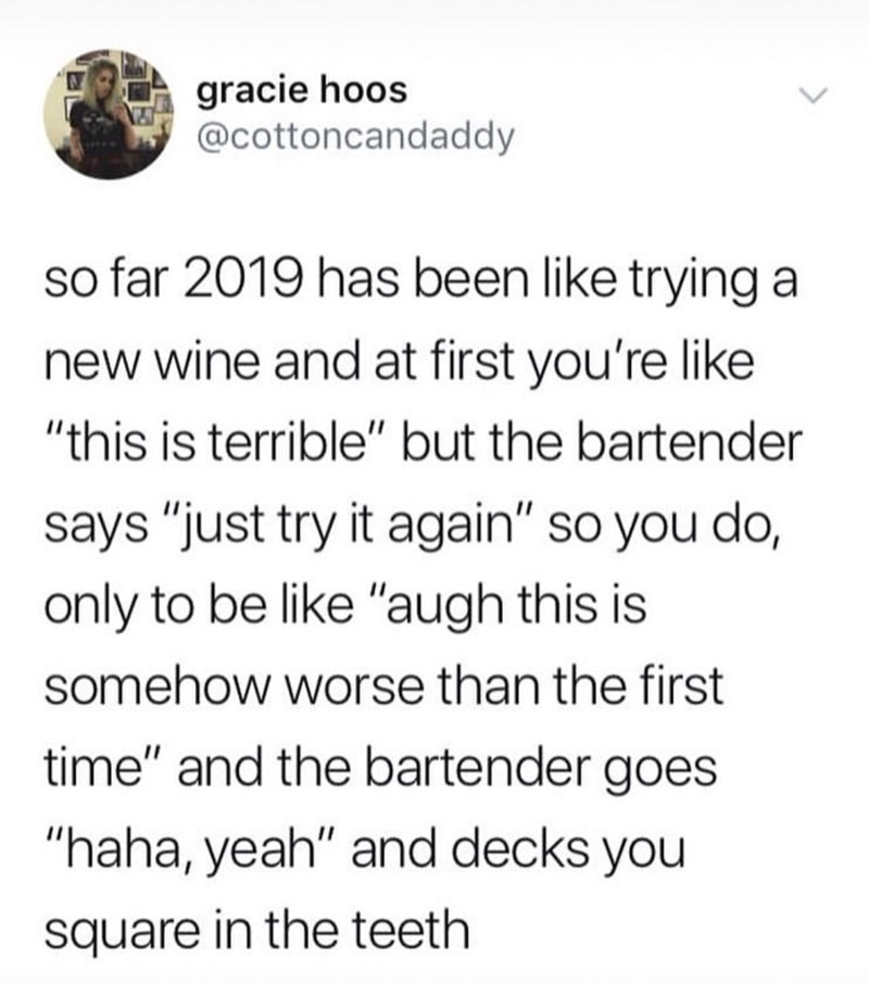 """Text - gracie hoos @cottoncandaddy so far 2019 has been like trying new wine and at first you're like """"this is terrible"""" but the bartender says """"just try it again"""" so you do, only to be like """"augh this is somehow worse than the first time"""" and the bartender goes """"haha, yeah"""" and decks you square in the teeth"""