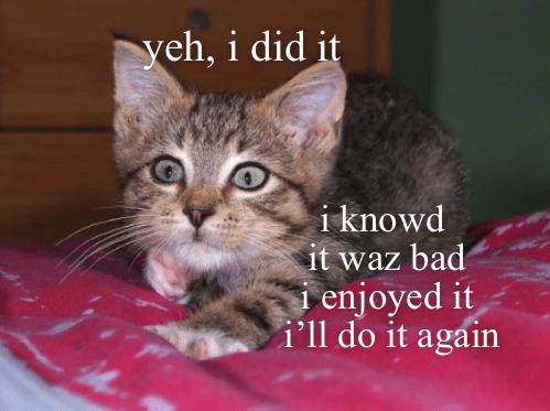 Cat - yeh, i did it i knowd it waz bad enjoyed it i'll do it again