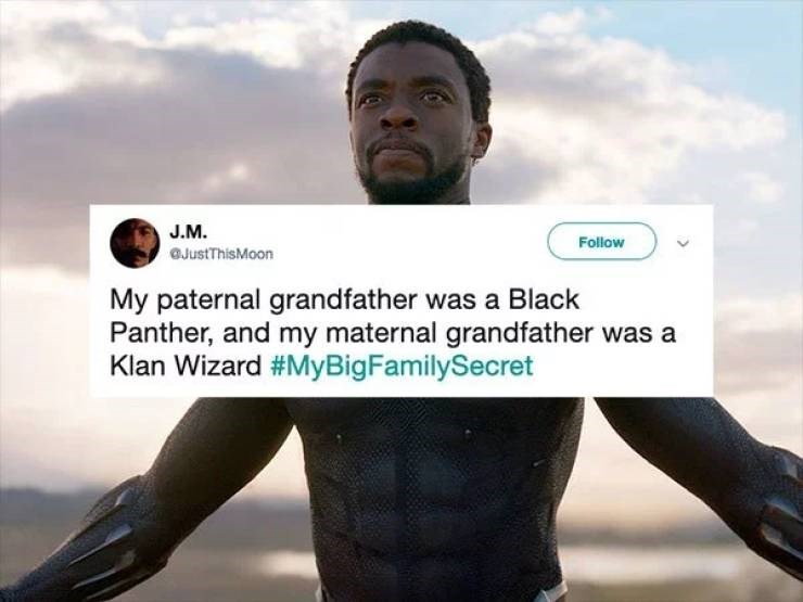 twitter post My paternal grandfather was a Black Panther, and my maternal grandfather was a Klan Wizard