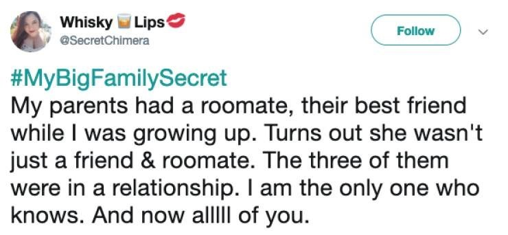 twitter post about parents having roommate that they were in a relationship with