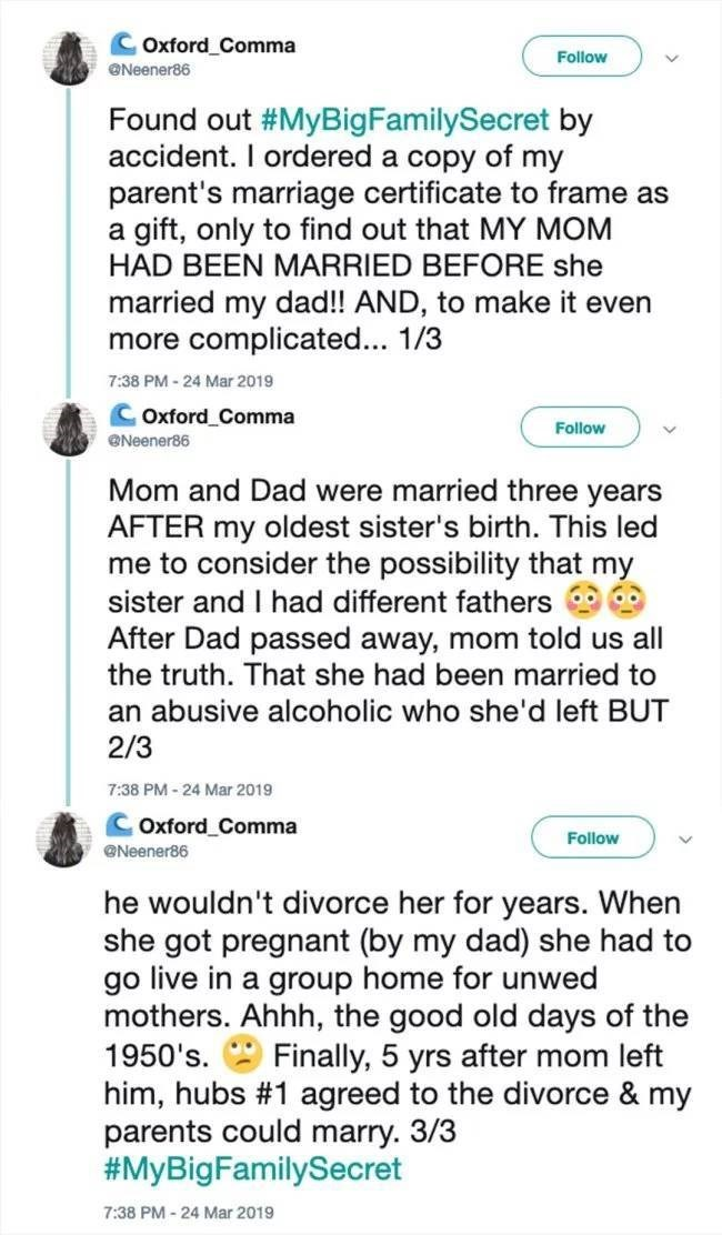 twitter post about birth certificate revealing that daughter had different father
