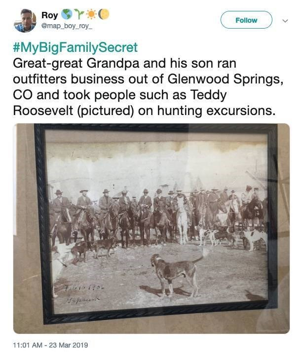 twitter post Great-great Grandpa and his son ran outfitters business out of Glenwood Springs, CO and took people such as Teddy Roosevelt (pictured) on hunting excursions. 11:01 AM 23 Mar 2019