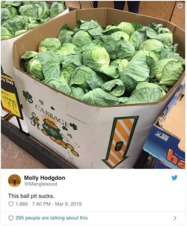 twitter post picture of box of cabbages This ball pit sucks