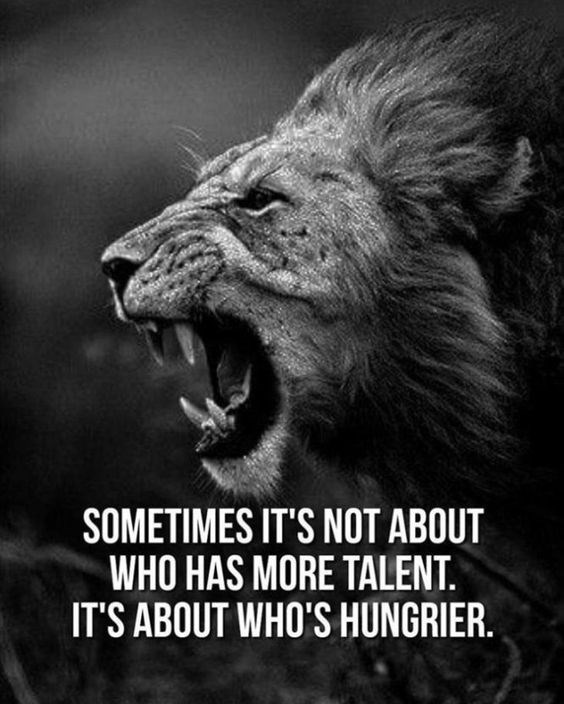 motivational lions - - Facial expression - SOMETIMES IT'S NOT ABOUT WHO HAS MORE TALENT. IT'S ABOUT WHO'S HUNGRIER.