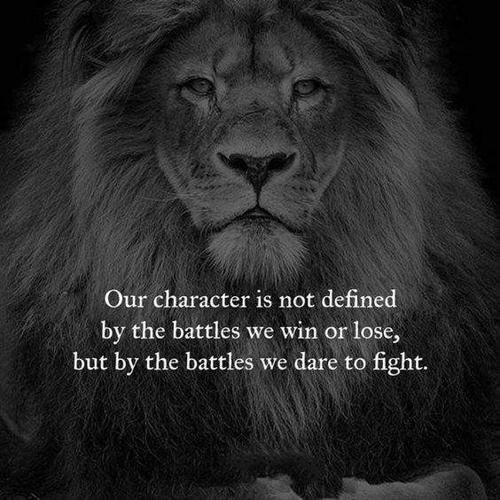 motivational lions - - Lion - Our character is not defined by the battles we win or lose, but by the battles we dare to fight.