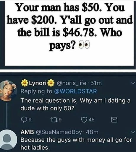 meme - Text - Your man has $50. You have $200. Y'all go out and the bill is $46.78. Who pays? 00 Lynori Replying to @WORLDSTAR @noris_life 51m The real question is, Why am I dating a dude with only 50? t19 45 AMB @SueNamedBoy 48m Because the guys with money all go for hot ladies.