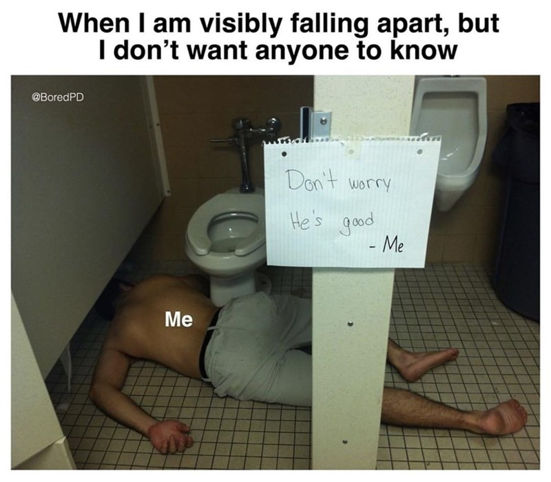meme - Product - When I am visibly falling apart, but I don't want anyone to know @BoredPD Don't worry He's good - Me Me