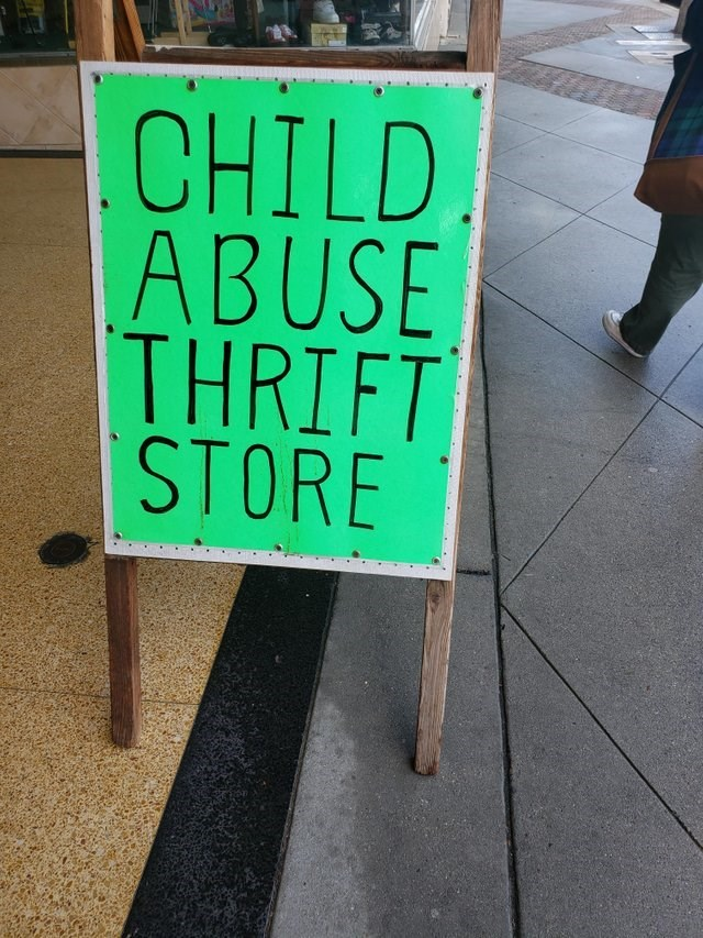 Signage - CHILD ABUSE THRIFT STORE