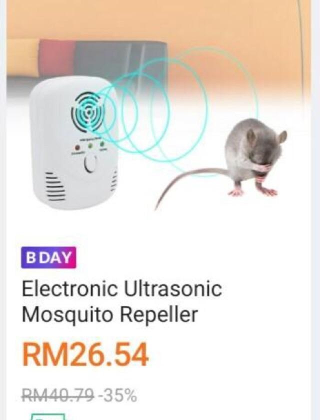 Mouse - B DAY Electronic Ultrasonic Mosquito Repeller RM26.54 RM40.79-35%