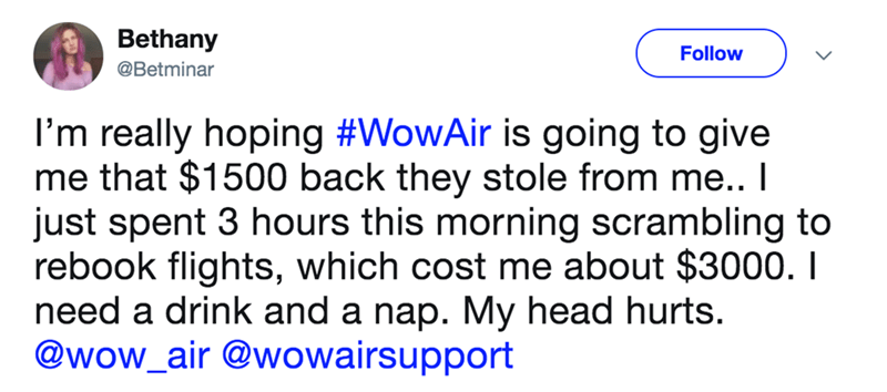 A woman's tweet about wanting her $1500 back from Wow Airlines.