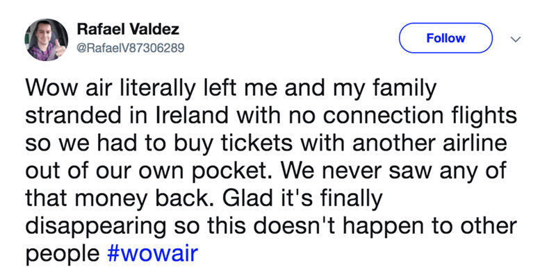 A tweet about Wow Airlines leaving someone and their family stranded in Ireland.