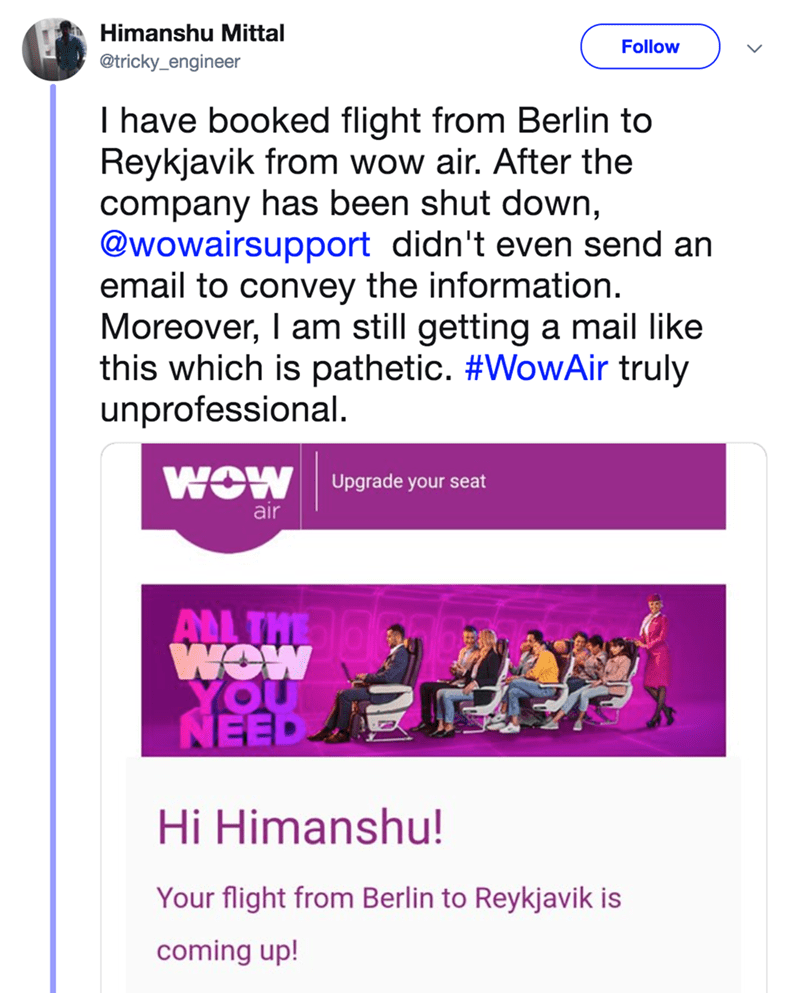 A tweet about someone still getting mail for their flight, after Wow Airlines shut down.