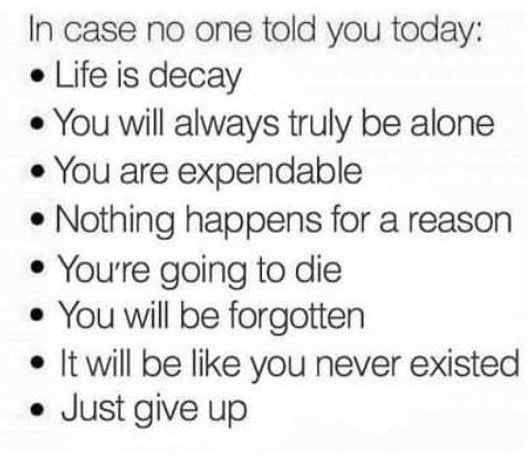 Text - In case no one told you today: Life is decay You will always truly be alone You are expendable Nothing happens for a reason Youre going to die You will be forgotten It will be like you never existed Just give up