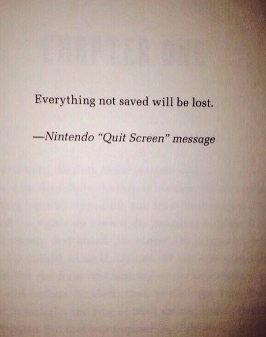 """Text - Everything not saved will be lost. -Nintendo """"Quit Screen"""" message"""
